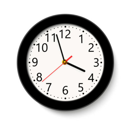 Classic black round wall clock isolated on white . Vector illustration.