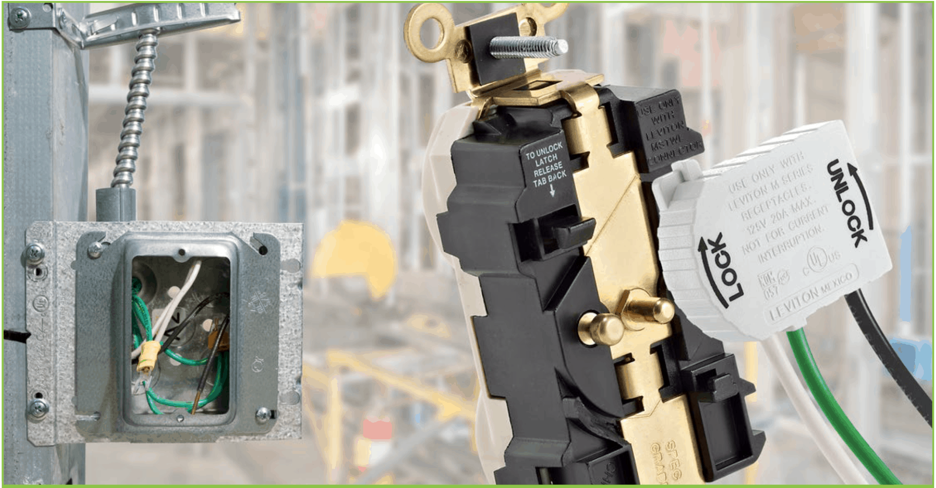 Leviton Lev-Lok modular wiring system with pigtail/whip and receptacle